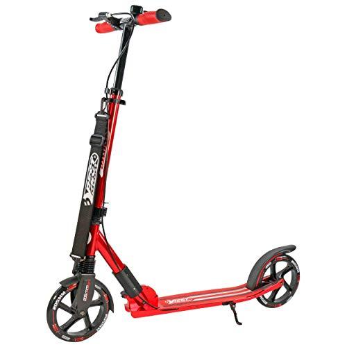 Best Sporting Scooter 205er Rolle High Class, klappbarer City-Roller mit ergonomischem Lenker, Handbremse und Klingel, Tret-Roller (Rot + Tragegurt)