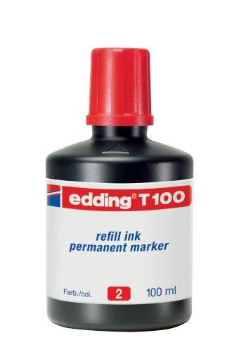 Edding T100-02 - Frasco tinta, color rojo, 736674