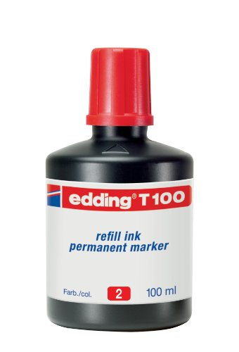 edding T100 Permanentmarker Nachfülltinte - Inhalt: 100ml - Farbe: rot - Tusche für edding Permanent Marker (auch edding EcoLine)