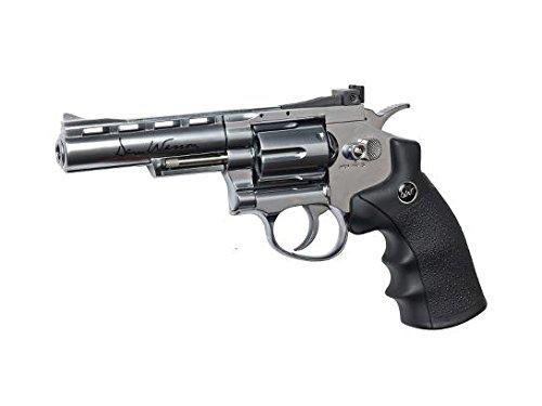 asg dan wesson co2 powered airsoft revolver, silver, 8/4.5mm(Airsoft Gun)