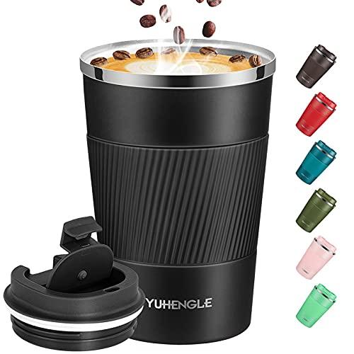 YUHENGLE Thermobecher- Isolierbecher, Edelstahl Travel Mug,Vakuum auslaufsicher Reisebecher mit Deckel, Autobecher, doppelwandig isoliert für Kaffee, Wasser und Tee, Kaffee-to-go Becher 13oz/380ml