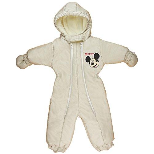 Kleines Kleid 2in1 Baby Schnee-Anzug/Ski-Overall Mickey Mouse, WARM GEFÜTTERTER Anorak mit Kapuze in Größe 56-62, 68-74, 80-86, 92-98, Winter-Fußsack oder Kinderwagen-Sack Wasser-abweisend Size 56/62