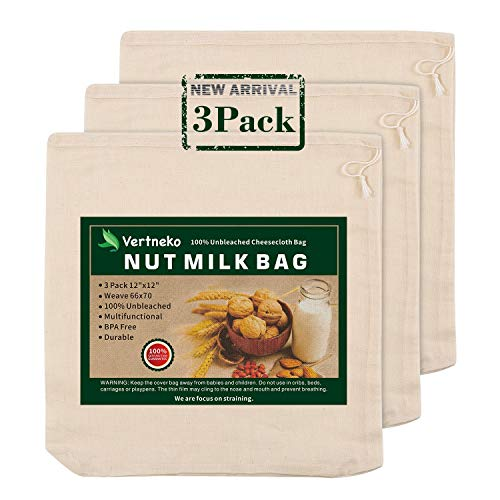 "Nut Milk Bag Reusable, 3 Pack 12"" x 12"" 100% Unbleached Cotton Cheesecloth Bags Strainer for Straining Almond/Soy Milk Greek Yogurt Cold Brew Coffee Tea Beer Juice Cheese Cloth"