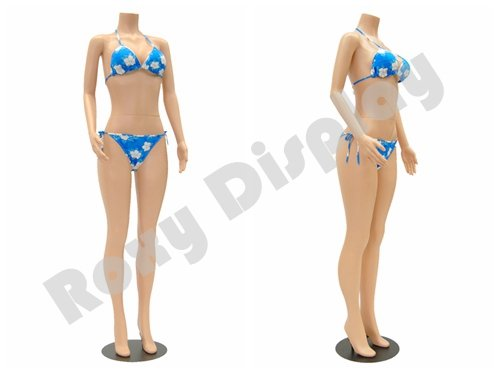 (PS-957-04F) ROXYDISPLAY Female Mannequin Headless Style, Standing Pose.turnable arm Color: Fleshtone, Material: Plastic