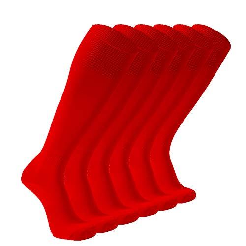Soccer Socks, FOOTPLUS Long Casual Dress Socks, Team Sports Softball Volleyball Baseball Football Cheerleaders Socks, Back to School Socks, 6 Pack Red, Large