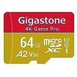 【5年保証】Gigastone Micro SD Card 64GB マイクロSDカード A2 V30 4K UHD ビデオ 録画 高速 4K ゲーム 95MB/s SDXC UHS-I U3 Class 10 micro sd カード Nintendo Switch 動作確認済 SD 変換アダプタ付 w/adaptor
