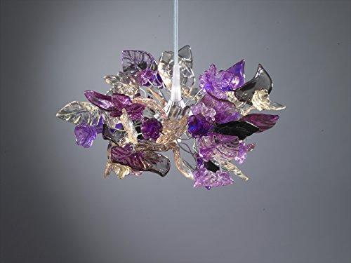Pendant light Purple Flowers and Leaves Lamp Shade - Handmade Ceiling Lights for Girls Bedroom - Home & Kitchen Light Fixtures - Home Decor