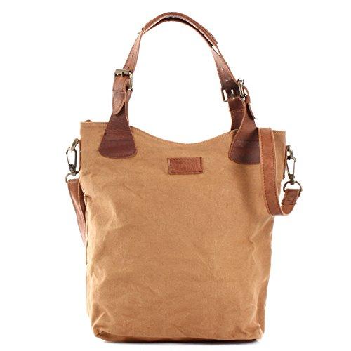 LECONI Henkeltasche Vintage Look Damentasche Handtasche Damen Shopper mit Schulterriemen Beuteltasche Canvas Leder 34x35x10cm cognac LE0054-C
