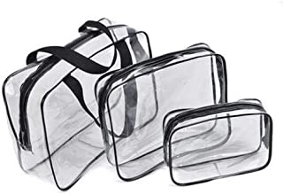 3 Pcs Clear Cosmetic Toiletry Travel Wash Makeup Bags