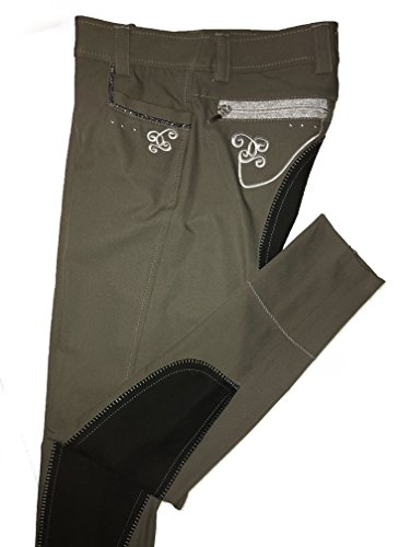 Cavallo Damen Reithose Crystal, Microfaser mit hochwertiger Bestickung und dekorativerSilberoptik an Taschen und Reißverschlüssen, Vollbesatz in Kontrastfarbe, geschlossener Beinabaschluss (36, Khaki)