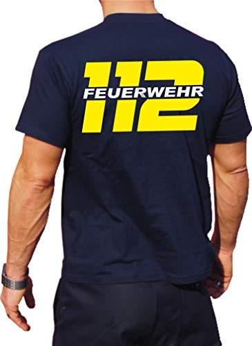 Feuer1 Navy T-shirt fonctionnel avec protection UV 30+ 112 avec pompier Jaune fluo et argent M bleu marine