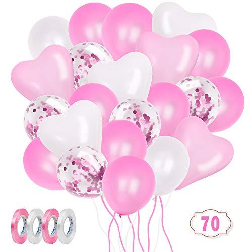 ZWOOS Globos Rosas y Blanco, 70 Piezas Globos de Confeti, Globos de Látex Globos de Cumpleaños para Bodas, Niña Cumpleaños Comunion Bautizo Baby Shower Bebe 1 Años Rosas Decoraciones
