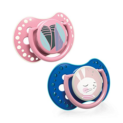 LOVI 2x Silikon-Schnuller   ab 6 bis 18 Monate   Hygienische Abdeckung   Schützt den Saugreflex   Leuchtschnuller   BPA frei   Follow the Rabbit Girl   Rosa