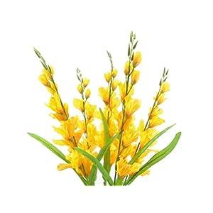 "Silk Flower Arrangements 26"" Bouquet Yellow Gladiolus Bush Artificial Silk Flowers LivePlant"