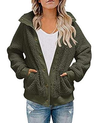 MEROKEETY Womens Winter Long Sleeve Button Sherpa Jacket Coat Pockets Warm Fleece