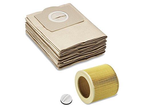 5 sacchetti filtro in carta come 6.959-130.0 + filtro a cartuccia come 6.414-552.0 & 4.075-012.0 per KÄRCHER WD2 WD3 MV2 MV3 A2054 A2201