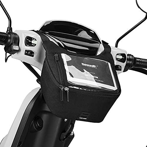 Cirdora Bolsas De Manillar De Moto Contenedor De Bolsa De Almacenamiento De Horquilla De Manillar Delantero De Motocicleta con Pantalla Táctil A Prueba De Agua para Motocicleta Scooter