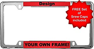 Custom Personalized Thin Top | Narrow Top 4 Hole Chrome Metal Car License Plate Frame with Free caps - Red/Black