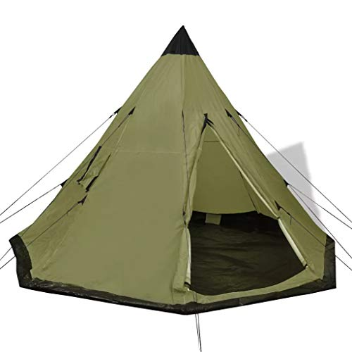 GOTOTOP Tienda de campaña 4 Personas Carpa para Camping con Ventanas Carpa Grande Portátil para Festivales, Acampada, Color Verde, 365 x 365 x 250 cm