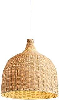 Lámpara colgante tejida a mano con lámpara colgante de bambú Pantalla de diseño creativo Colgante de luz personalizada lámpara de araña de ratán de hierro para comedor dormitorio,Ø35cm*35cm