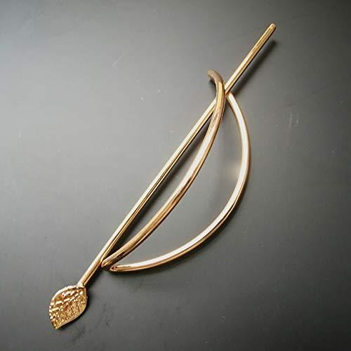 PYBH Broche de metal chapado en oro y plata para el pelo, para joyas, hojas de pelo, horquillas y clips para mujer (color de metal: pasador de pelo dorado)