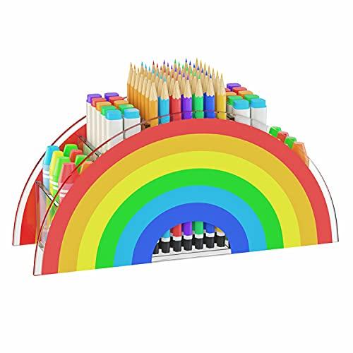 【NEUESTE]AITEE Regenbogen-Stifthalter für Kinder, Acryl-Schreibtisch-Bleistift-Organizer für Bürobedarf, ideal für Frauen / Kinder.