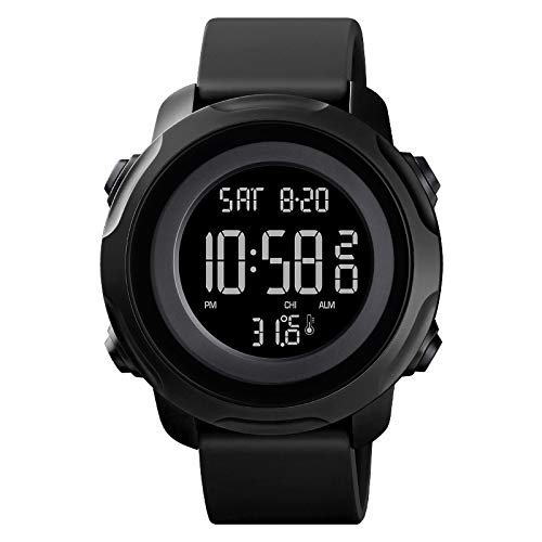 Reloj Deportivo Digital 50M Impermeable Reloj de Medición de La Temperatura Corporal para Correr Casual Patadas Escalada Pesca Viajes Dial Grande con Luz de Fondo