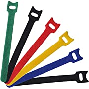 """60 PCS Cable Management Ties,Viaky 6"""" Inches (15cm) Reusable Self-Gripping Cord Straps Fastening Microfiber Cloth Hook and Loop Cord Ties, colorful - Organize Wires - Simple Cord Organizer for Desks"""