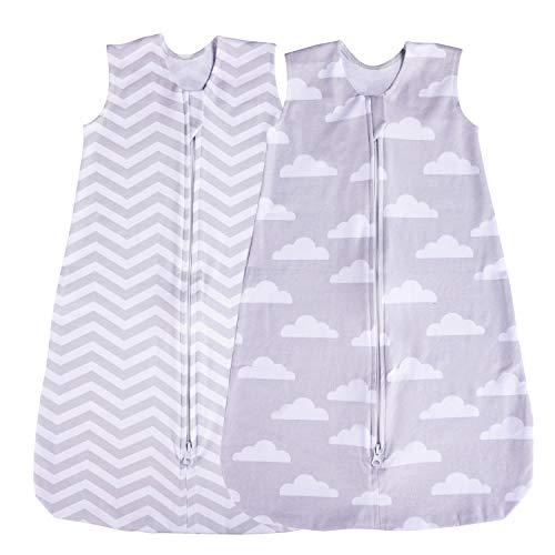 Saco de dormir para bebé, paquete de 2 mantas usables, verano (nube/Chevron) (6-12 meses)