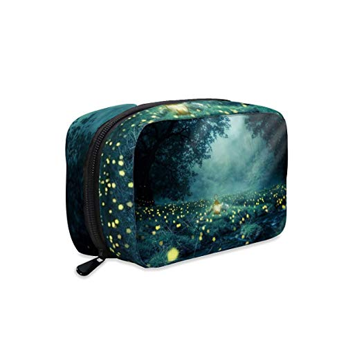Night Forest Glowworm Light Lantern Makeup Bag Zipper Pouch Travel Toiletry Bag Cosmetic Accessories Organizer Purse Large Portable for Women Girls