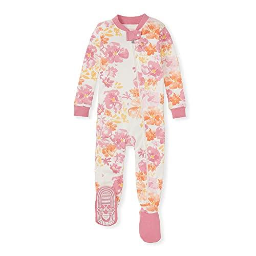 Burt's Bees Baby Baby Girls' Pajamas, Zip Front Non-Slip Footed Sleeper Pjs, 100% Organic Cotton, Sunset Blooms, 12 Months