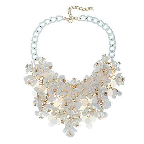 DELEY Donne di Colore di Candy Cluster di Cristallo Floreali in Rilievo Choker Bavaglino Deco Collare Collana Bianco