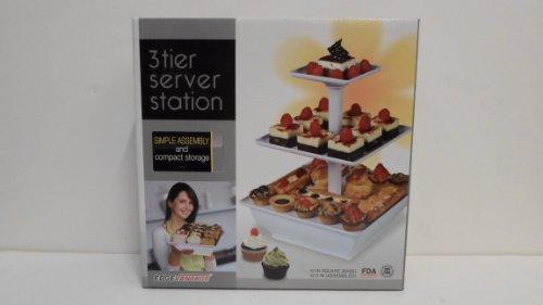 EdgeVantage White Three Tier Server Station - Dessert Tray - Cupcake Stand - Food Display - DAMAGED Box