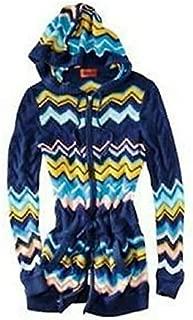 Missoni for Target Women's Knit Sweater Blue Via Zippered Chevron Hoodie X-Large XL