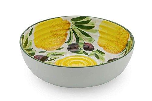 Bassano Ausgefallene italienische Keramik runde Salat-Obst- Schale Zitronen- Oliven bemalt 29x9
