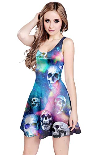 CowCow Womens Skull in Space Sleeveless Dress, in - XL