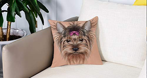 Pillowcase,Cuscini da Letto,Yorkie, immagine disegnata al computer realistica di Yorkshire Terrier con nastro decorativo aniCuscini Per Copricuscini Divano Caso Federa Home Decorativi 45x45 Cm
