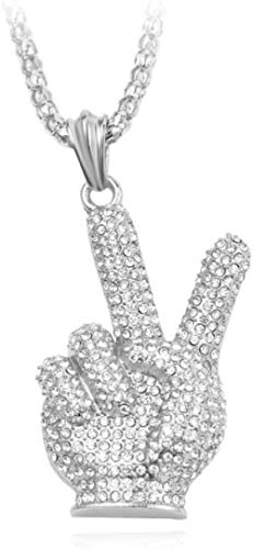 NC122 Pendant Necklace Hip Hop For Women Vintage Charm Winner Gesture Party Jewelry Gift Accessories Men-Silver