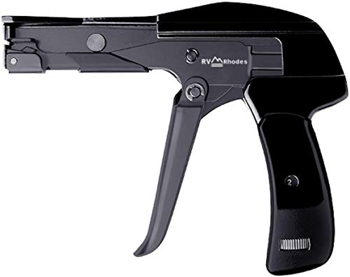 RV Rhodes Professional Zip Tie Gun [New Version] - Tensioner and Cutter Tool - Install Plastic Nylon Ties - Heavy Duty Cable Management - Die-Cast Steel Flush Cut - One Year Warranty