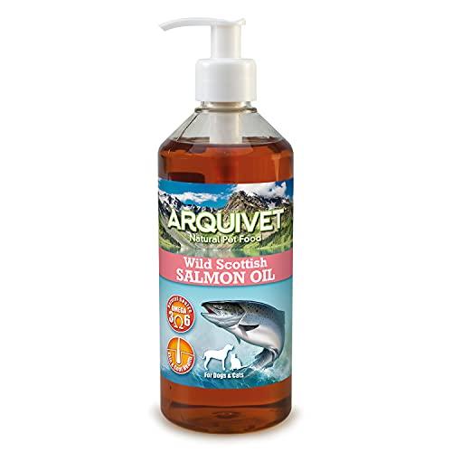 ARQUIVET - Aceite de salmón escocés 500 ml para Perros y Gatos - Alimento complementario - Fuente de Omega 3 y 6 - Vitamina E - Comida para Perros y Gatos