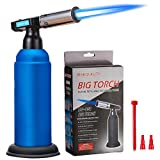 Butane Torch, JUN-L Big Blow Torch Refillable Cooking Torch Lighter, Adjustable Flame for Desserts, BBQ, Soldering with Safety Lock (Blue)