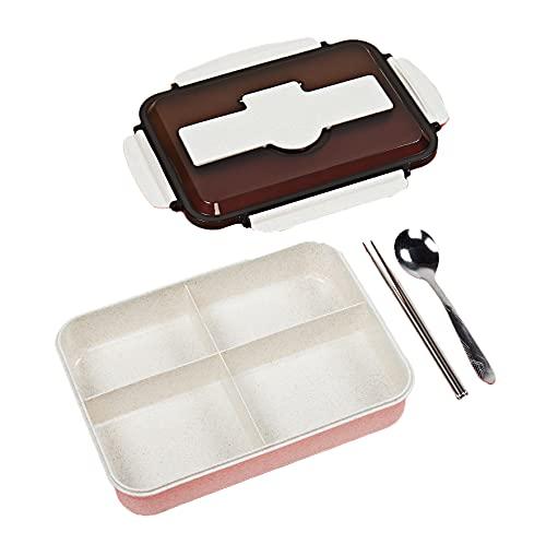 Lihuzmd Caja Bento para Almuerzo para niños, Fiambreras recipientes de Comida para Preparar Comidas ecológicos, 4 Compartimentos, a Prueba de Fugas, Cubiertos incluidos,Rosado,28x20x7cm
