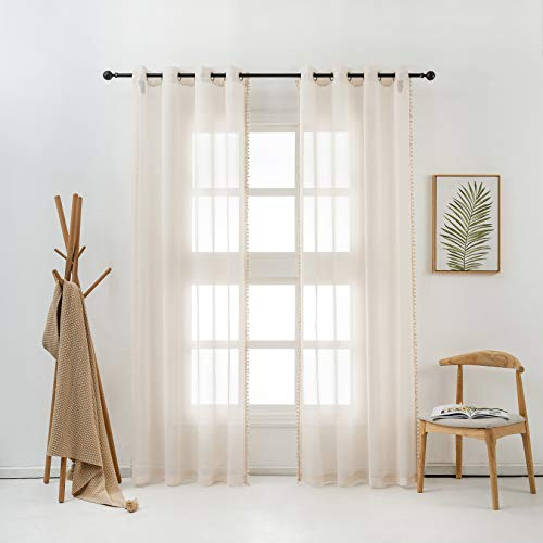 HHD Sheer Curtains 54x84 Inches Semi Voile Drapes for Bedroom Living Room Grommet Top Window Curtains , Set of 2 Panles, Cream Pom Pom