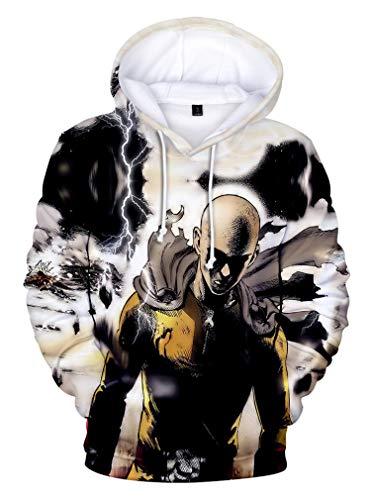 AMOMA Herren Damen Unisex Anime One Punch Man Hoodie Comics Manga Saitama 3D Digitaldruck Kapuzenpullover Sweatshirt(3XL,Color12)