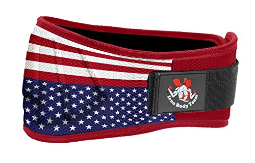 Iron Body Team Weight Lifting Belts for Men and Women - 6 Inch Weight Lifting Core & Lower Back Support Workout Waist Belt for Weightlifting, Fitness, Powerlifitng… (US-Flag, Small, 29'- 34' Around Navel)