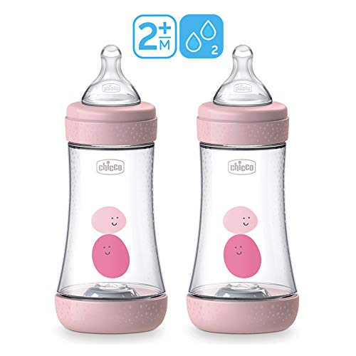 Chicco Perfect-5 ANTI-KOLIK Equilibrium Membrane Baby Flasche 240 ml, 2er Pack Girls, SOFT SENSE-SILIKON Sauger 2 Mo+, made in Italy
