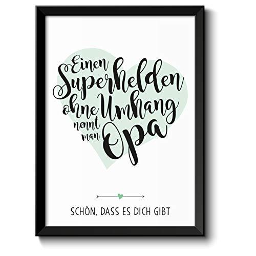 Superheld Opa Bild im schwarzem Holz-Rahmen Geschenk Geschenkidee Danke sagen Dankeschön