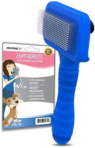 DEZENDO® Zupfbürste selbstreinigend | für Hunde & Katzen mit MITTEL- & LANGHAAR | sichere Fellpflege mit unserer Katzenbürste & Hundebürste | Katzenhaare entfernen mit der Fellbürste