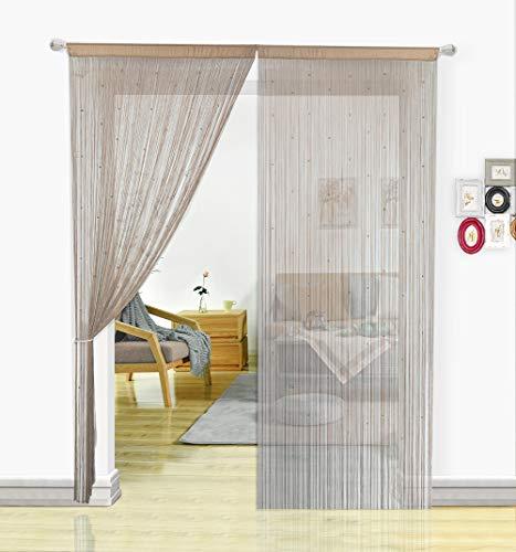 HSYLYM Pantalla de Cortinas de Cuerdas Cuentas,para decoración del hogar,Crudo,90x245cm