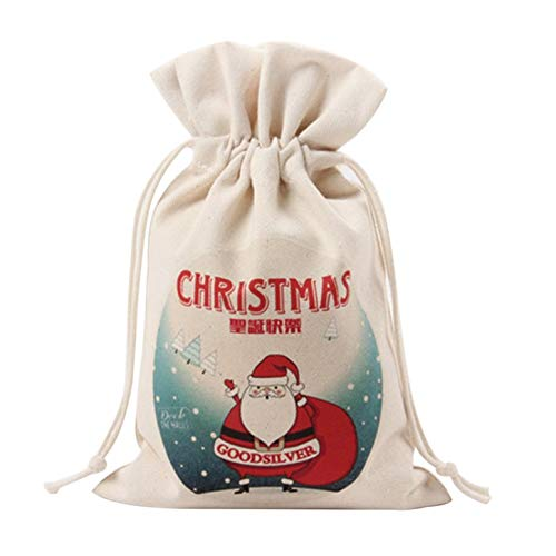 Einzigartiges Design Große Weihnachtsgeschenktüte Home Party Dekoration Vintage Kordelzug Leinwand Esstisch Geschenktüte Zubehör